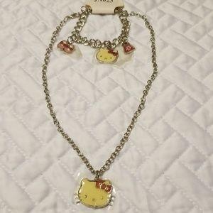 Hello Kitty Necklace and Bracelet Set